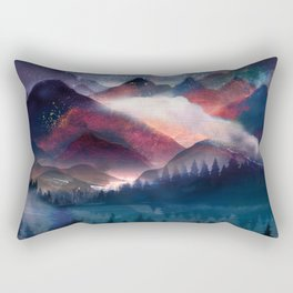 Mountain Lake Under the Stars Rectangular Pillow