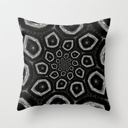 Black and White Spiral 09 Throw Pillow