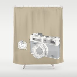 """Yashica Camera - """"Say Cheese"""" - soft-brown Shower Curtain"""