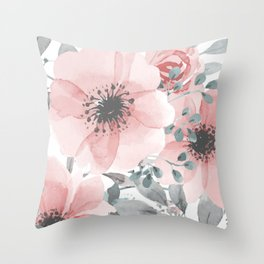 Abstract Watercolor, Floral, Coral and Gray, Watercolor Print Throw Pillow