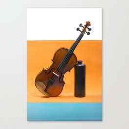 Still-life with a violin and a dark bottle Canvas Print