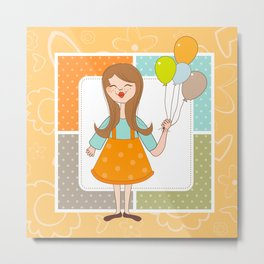 Adorable Cute Girl and Her Balloons Metal Print