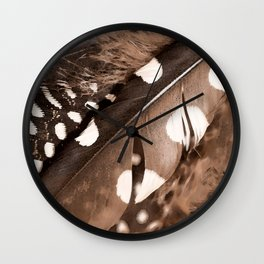 Beautiful Feathers On A Dark Brown Background #decor #buyart #society6 Wall Clock