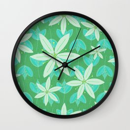Green Flowers and Leaves Doodle Illustrated Pattern Wall Clock