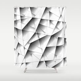 Exclusive light mosaic pattern of chaotic black and white fragments of glass, metal and ice floes. Shower Curtain