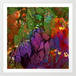 foliage on abstract background Art Print