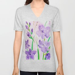 Watercolor blue flowers  gladiolus  Unisex V-Neck