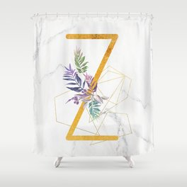 Modern glamorous personalized gold initial letter Z, Custom initial name monogram gold alphabet prin Shower Curtain