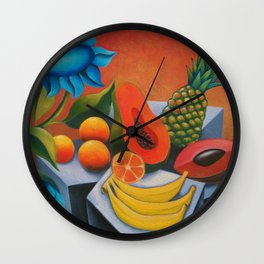 Cuban fruits with blue flowers Wall Clock