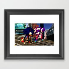 Race with Sonic at Stardust Speedway Framed Art Print