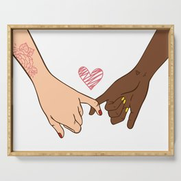 Hand drawn pinky swear pinky promise concept, Set of hand pose heart gesture, Bffs gift ideas Serving Tray