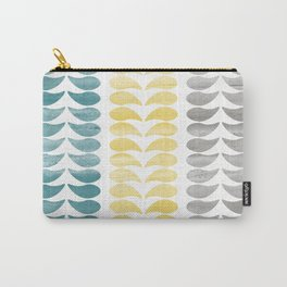 Simple Turquoise Yellow Gray Print Carry-All Pouch