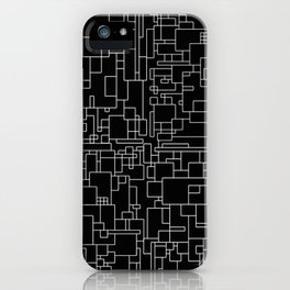 Circuitry - Abstract, geometric, black and white iPhone Case