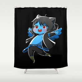 Chibi Luc (Expression 1) w/ Black Background Shower Curtain