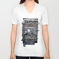 military V-neck T-shirts featuring Vintage Military Radio  by TomConwayArt