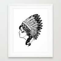 indian Framed Art Prints featuring Indian by Joshua Bowers