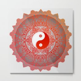 Yin Yang Zen Mandala Metal Print