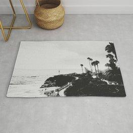 Laguna Beach   LoFi Black and White Relaxed Aesthetic Pink Sunset Palm Trees Hippie Ocean Waves Rug