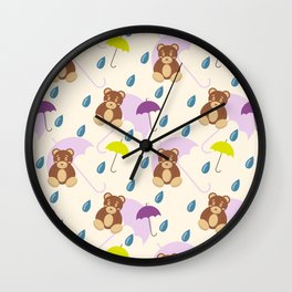 Teddy bear under umbrella  Wall Clock
