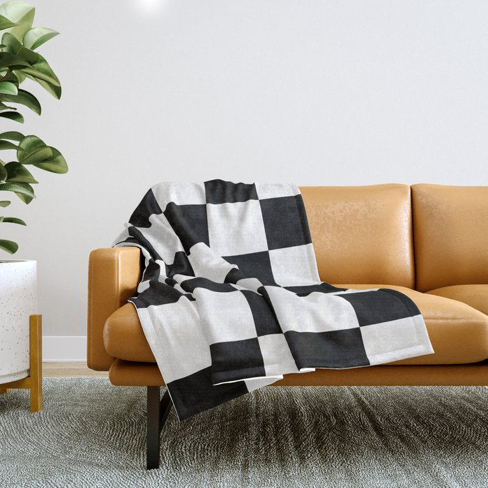 Large Checkered - White and Black Throw Blanket