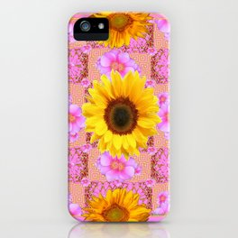 Lilac pink Patterns Sunflower Floral Art iPhone Case