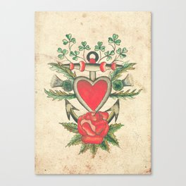 Vintage Tattoo Design with an Anchor and Heart Canvas Print
