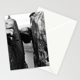 Nordic print, black white wall art, Amazing fjord, Norway cliffs, kjeragbolten, holiday Stationery Cards