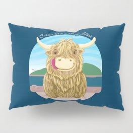 Scottish Highland Cow With Ocean Salty Hair Pillow Sham