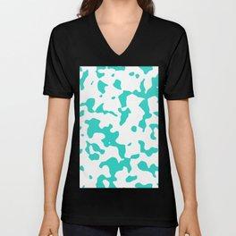 Large Spots - White and Turquoise Unisex V-Neck