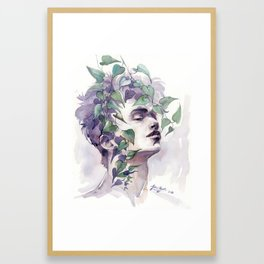 A man with ivy, watercolor portrait Framed Art Print