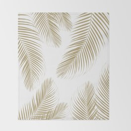 Palm Leaves - Gold Cali Vibes #3 #tropical #decor #art #society6 Throw Blanket
