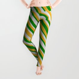 Green, Light Gray, and Goldenrod Colored Striped Pattern Leggings