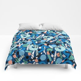 CIRCLES IN MOTION - GREEN/ BLUE brush stroke Comforters