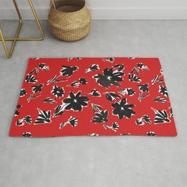 Red and Black Mod Floral Pattern Sophisticated Cheerful Florals Contemporary Royal English American Garden Rug