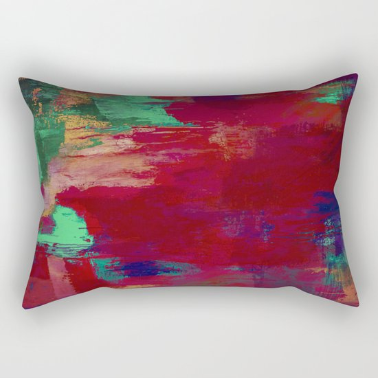 Crimson Overflow - Abstract, red, crimson, green, purple oil painting Rectangular Pillow