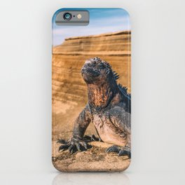 Galapagos marine iguana sun tanning on beach iPhone Case