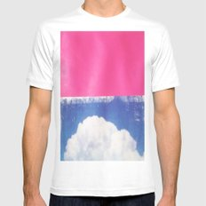 SKY/PNK White MEDIUM Mens Fitted Tee