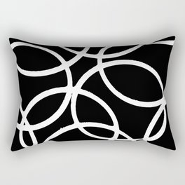 Interlocking White Circles Artistic Design Rectangular Pillow