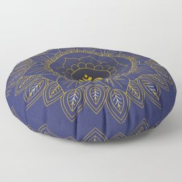 Om Symbol and Mandala in Spiritual Gold Purple Blue Violet Floor Pillow
