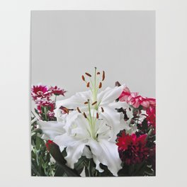 Floral Lilies Daisies Poster