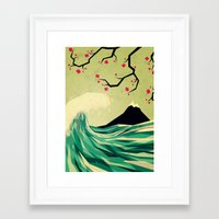 wave Framed Art Prints featuring falling in love by Yetiland