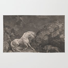 George Stubbs A Horse Affrighted by a Lion Black and White Vintage Ink Illustaration Fantasy Art Rug