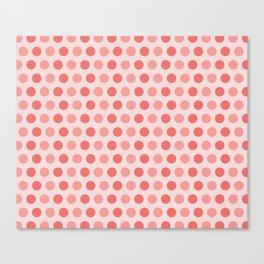Coral Polka Dots Canvas Print