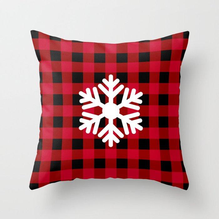 Red Buffalo Check - snowflake - more colors Throw Pillow