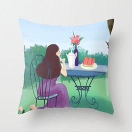 Beautiful Garden Girl Throw Pillow