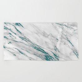 Gray Marble Aqua Teal Metallic Glitter Foil Style Beach Towel
