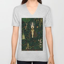 1921 Classical Masterpiece 'Flowers and Flames' by Kay Nielsen Unisex V-Neck