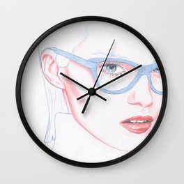 Blue Glassed Wall Clock