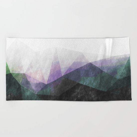 On the mountains- green watercolor - triangle pattern Beach Towel