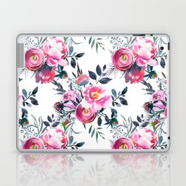 Modern hand painted blush pink yellow gray watercolor floral Laptop & iPad Skin